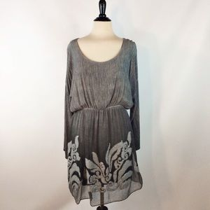 BELLA AMORE New Gray Blouson Dyed DRESS M sequin
